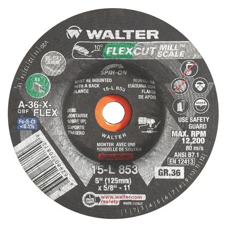 "Walter FLEXCUT™ Mill Scale  Blending Disc 4-1/2"" x 5/8""-11 GR:36 Spin-on"