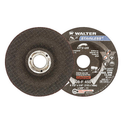 "Walter STAINLESS™ Grinding Wheel 4-1/2"" x 1/4"" x5/8""-11 T27S GR:A30SS"