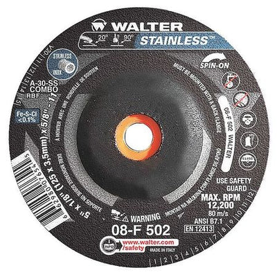 "Walter STAINLESS™ Grinding Wheel 5"" x 1/8"" x5/8""-11 T27S GR:A30SS"