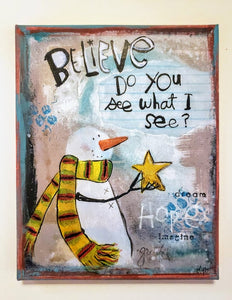 Canvas Art-Believe Snowman