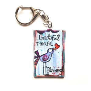 Keychain- Grateful -birdie