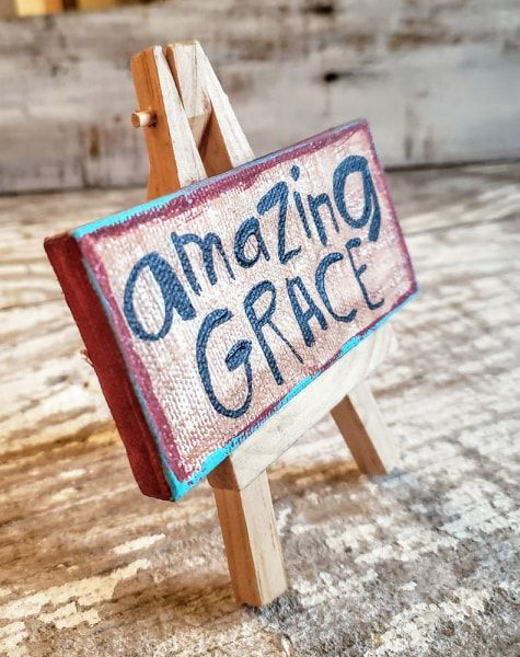 Mini Canvas & Easel-Amazing GRACE