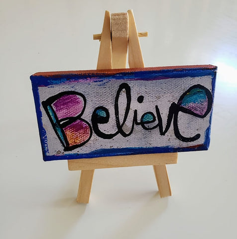 Mini Canvas & Easel-Believe