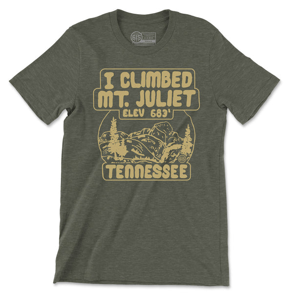 I Climbed Mt. Juliet Olive Green Outdoors Tee