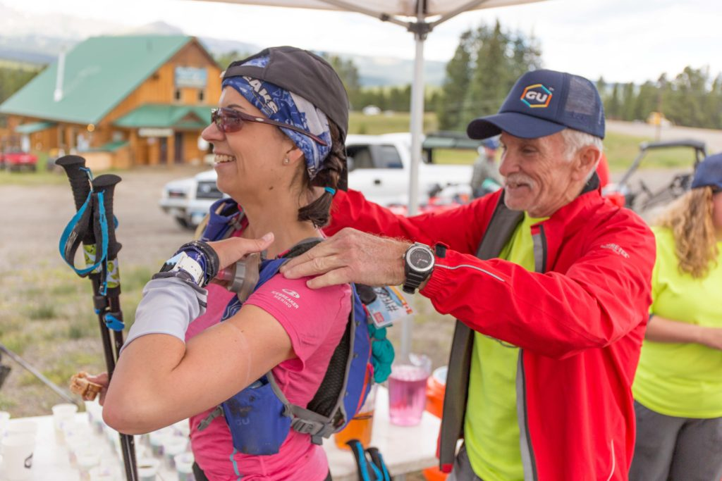 The TransRockies Crew spent hours at each aid station helping runners refill bottles, grab snacks, and event hand out some back rubs.