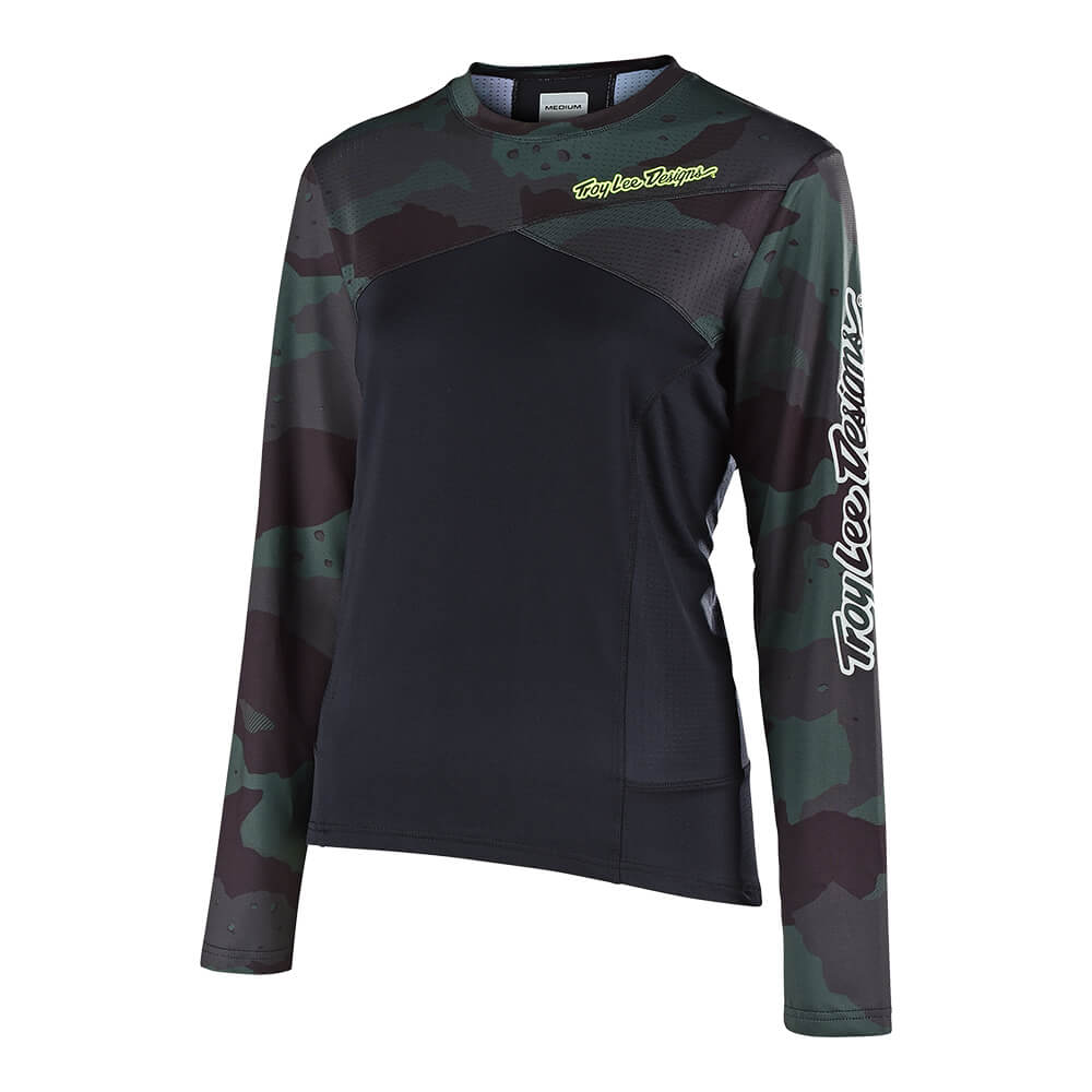 WOMENS SKYLINE LS JERSEY CAMO GREEN / BLACK
