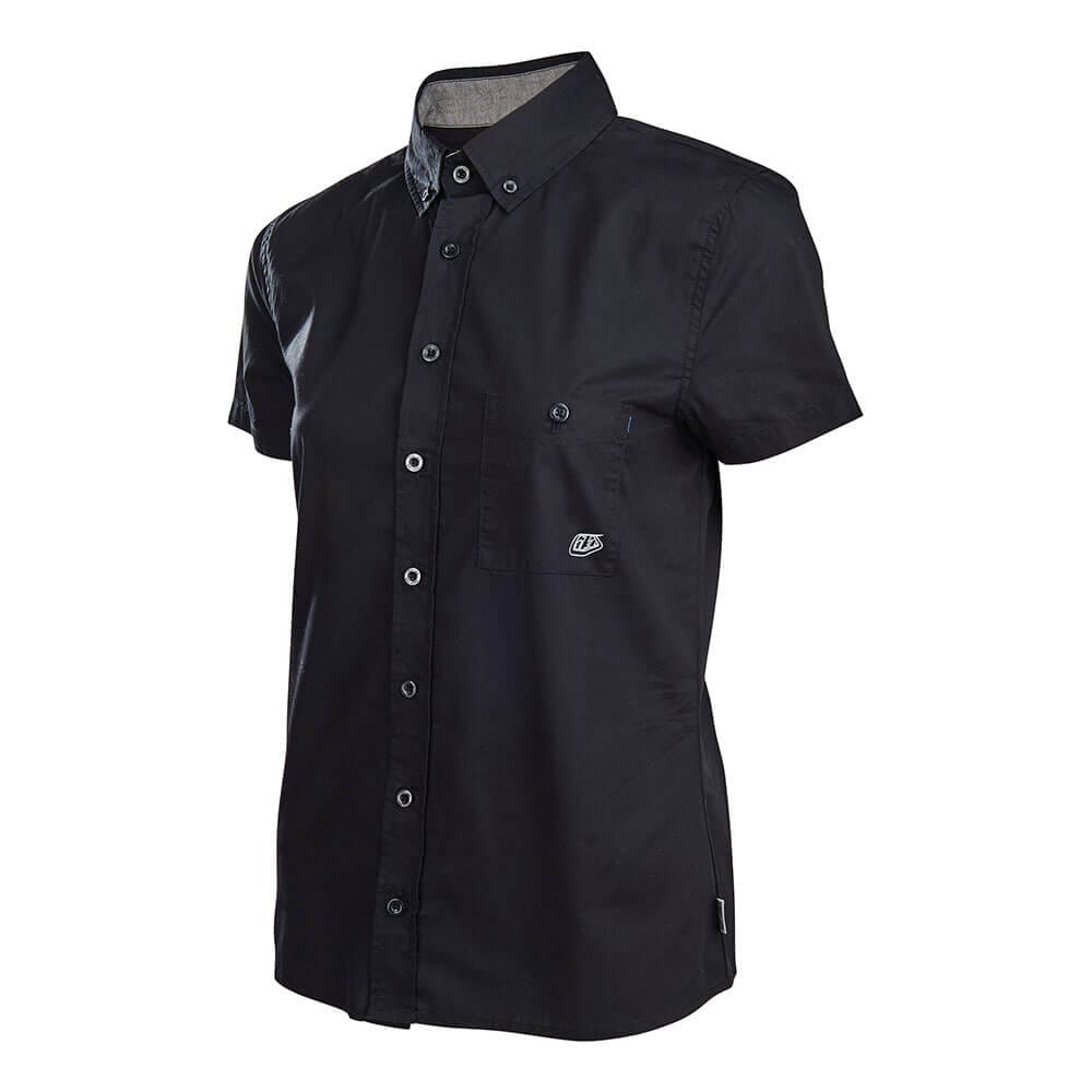 WOMENS BUTTON UP LS SHIRT STREAMLINE BLACK