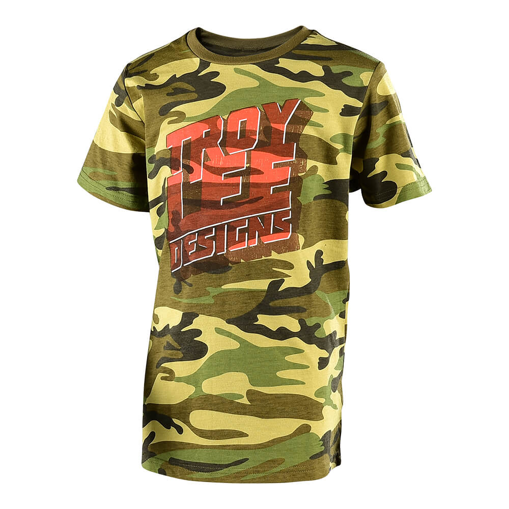 YOUTH SHORT SLEEVE TEE BLOCK PARTY CAMO ARMY GREEN