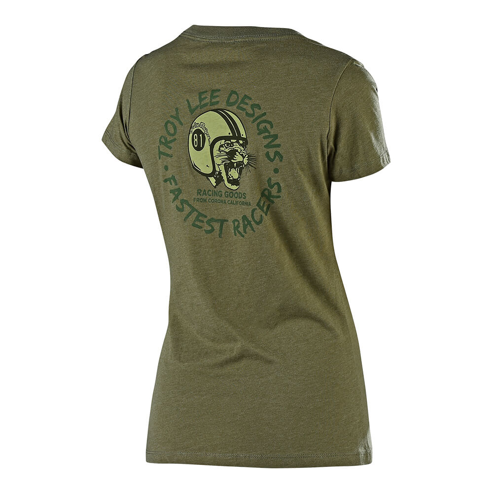 WOMENS SHORT SLEEVE MAD KITTY MILITARY GREEN