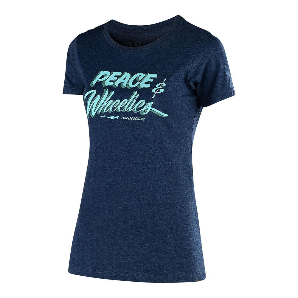WOMENS SHORT SLEEVE PEACE & WHEELIES MIDNIGHT NAVY