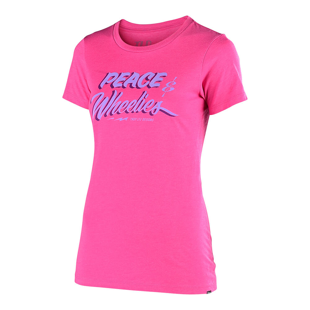 WOMENS SHORT SLEEVE PEACE & WHEELIES RASPBERRY