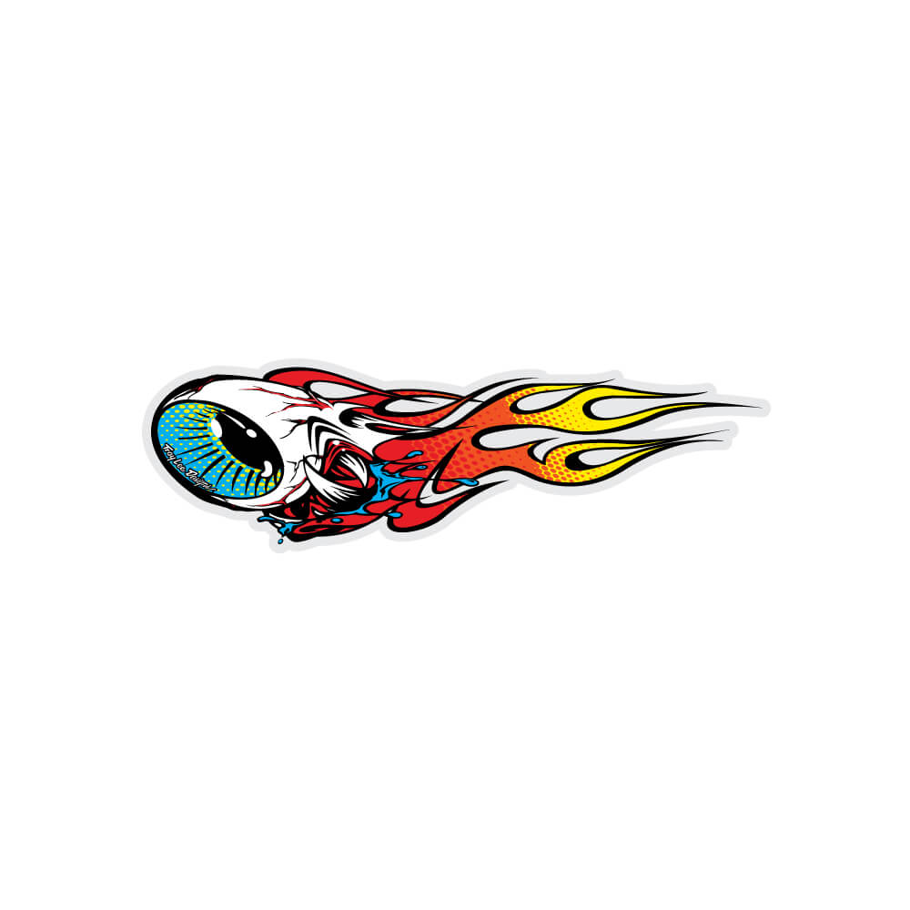 STICKER LEFT FLAMING EYEBALL RED / YELLOW