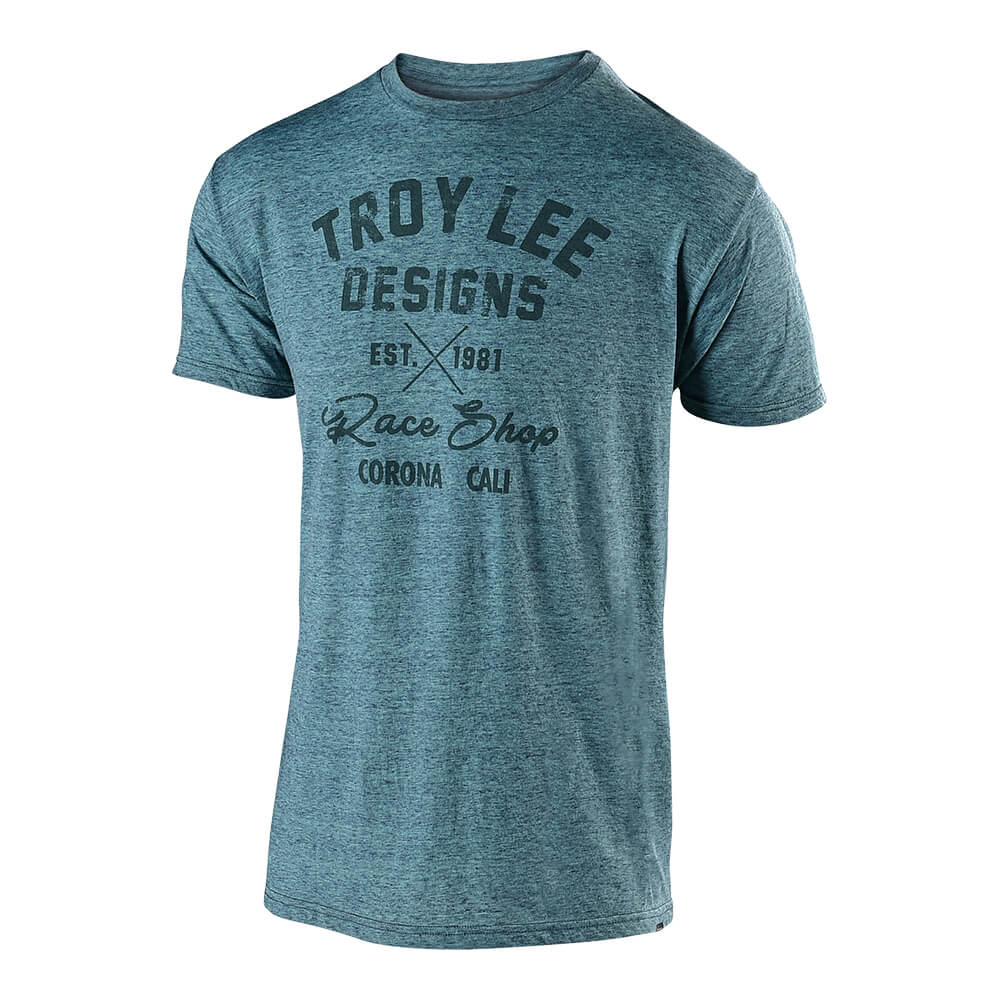 SHORT SLEEVE TEE VINTAGE RACE SHOP LAGOON TEAL