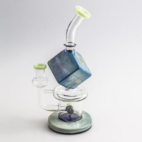 8.5 Blue Cube Glass Dab Rig  Water Pipes For Sale  Free Shipping