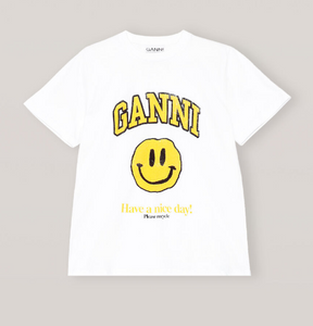 T-shirt Smiley GANNI blanc