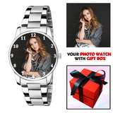 Elegant Silver Photo Watch For Her