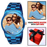Blue Photo Watch | Unique B'day / Anniversary Gift For Husband / Boyfriend