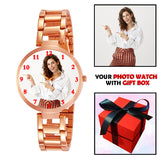 Rose Gold Photo Watch For Fashionable Lady