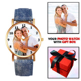 Denim Jeans Strap Customized Photo Watch Gifts For Birthday / Anniversary (Unisex)