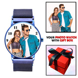 Blue Magnetic Strap Customized Photo Gifts For Men's Birthday / Anniversary