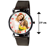 Black Analog Customized Watch For Her