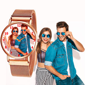 Copper Color Magnetic Strap Personalized Photo Watch Gifts For Men