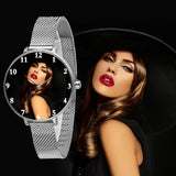 Silver Personalized Watch For Her With Magnetic Straps