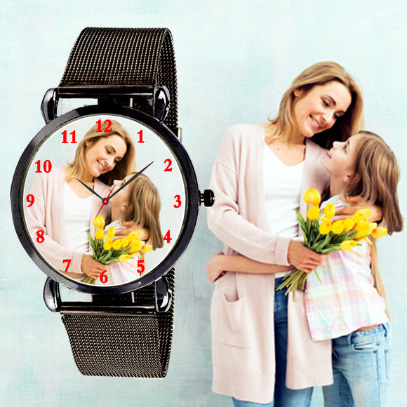 Black Customized Watch For Her, Best Gifts For Birthday / Marriage For Friend Girls