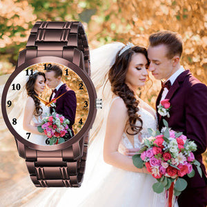 Elegant Brown Watch For Him With Personal Picture