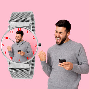 Silver Strap Magnetic Photo Watch Gifts For Him