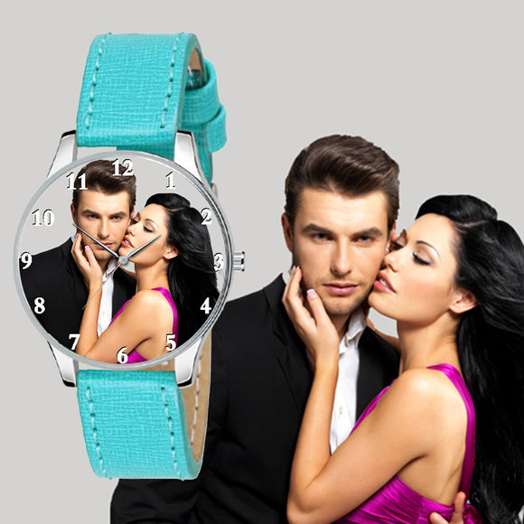 Trendy Turquoise Strap Photo Watch Gift Ideas For Birthday / Wedding Anniversary