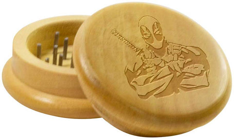 Portable Wooden Weed/Herb Grinder Deadpool Logo | Free Shipping