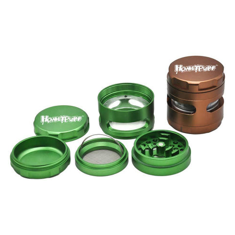 Honeypuff 4 Layer Herb Grinder With Transparent Window 61 Mm (7 Color)