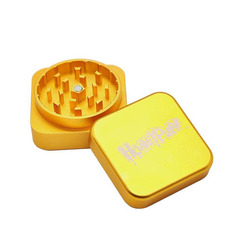 Honeypuff Square Novelty Herb Grinder 2 Layer 47Mm (2 Color) - Gold