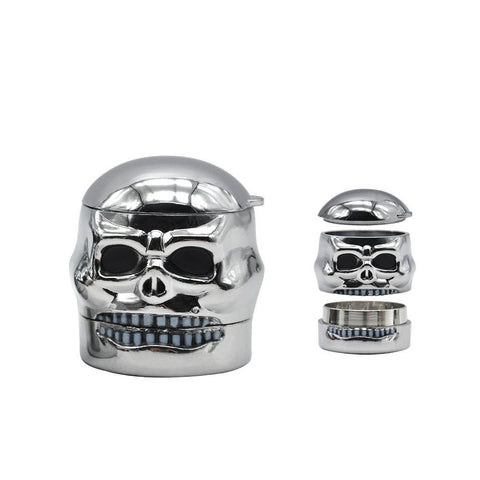 Silver Skull Novelty Herb Grinder 3 Layer 41Mm