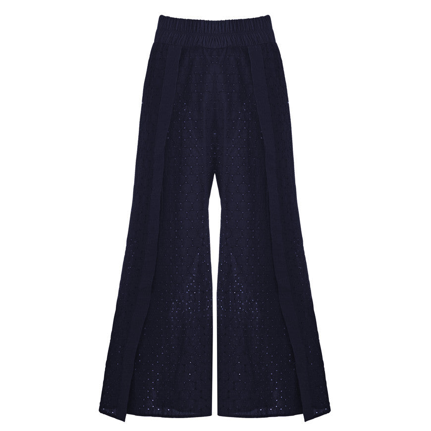 Belize Pants Unlined  Broderie Anglaise Navy