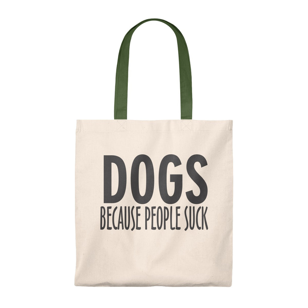 DOGS BECAUSE PEOPLE SUCK VINTAGE TOTE BAG