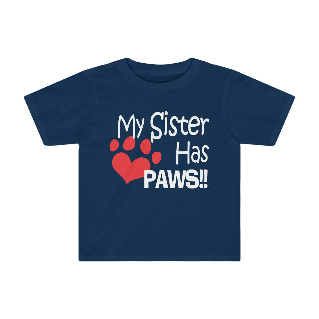 MY SISTER HAS PAWS HEART KIDS TEE