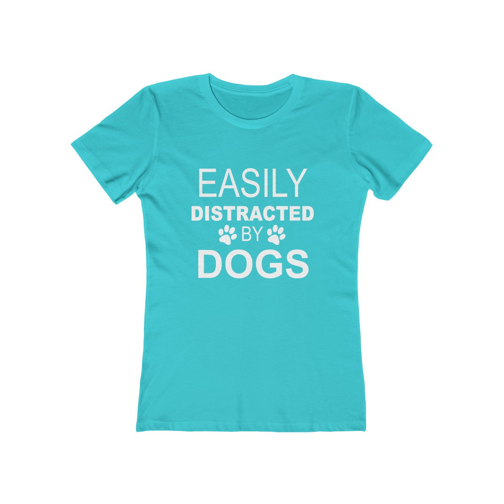 Easily distracted by dogsboyfriend tee for dog lovers teal green- Mucho Poocho