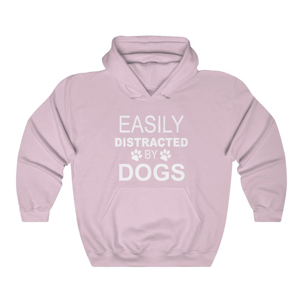 EASILY DISTRACTED BY DOGS HEAVY UNISEX HOODIE