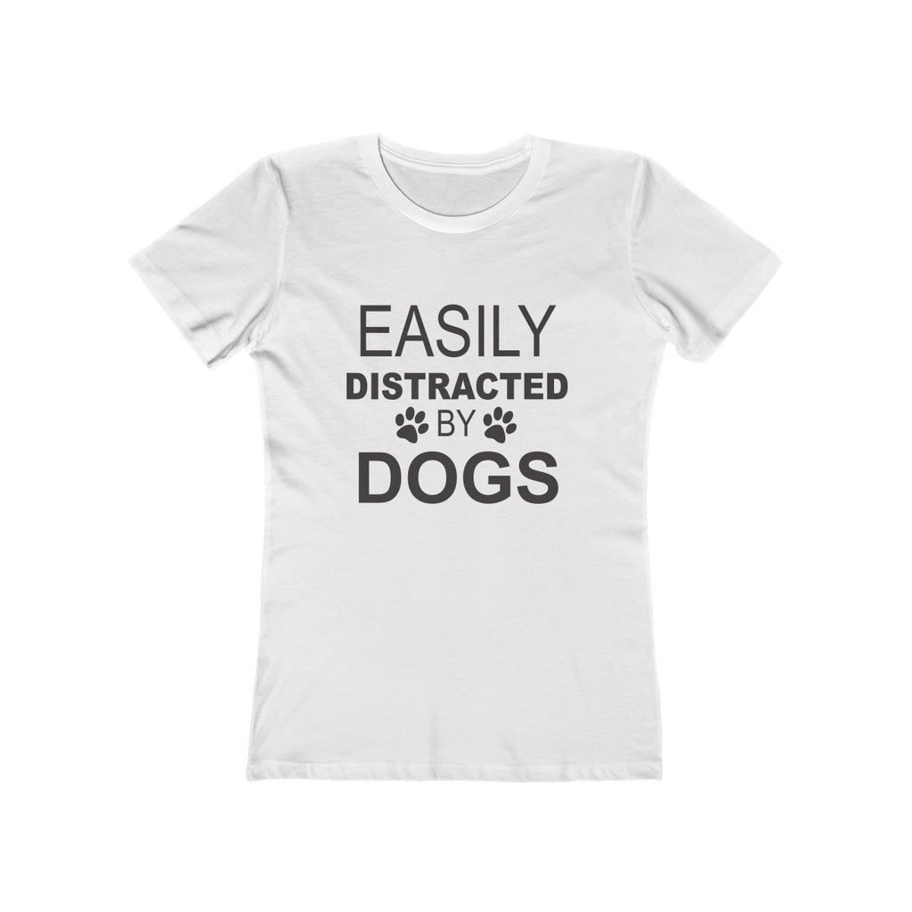 Easily distracted by dogsboyfriend tee for dog lovers black on white - Mucho Poocho