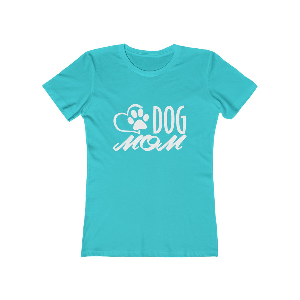 Dog Mom boyfriend tshirt for women dog lovers teal green - Mucho Poocho