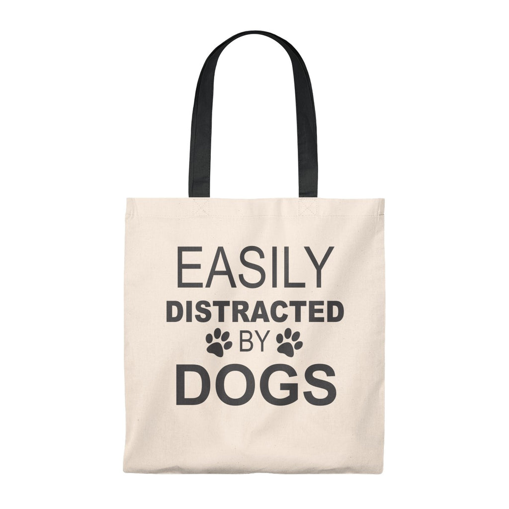 EASILY DISTRACTED BY DOGS VINTAGE TOTE BAG