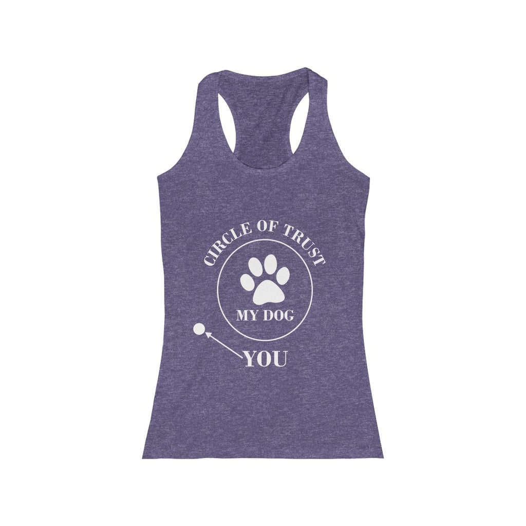 Circle of trust racerback tank top for women dog lovers- Mucho Poocho
