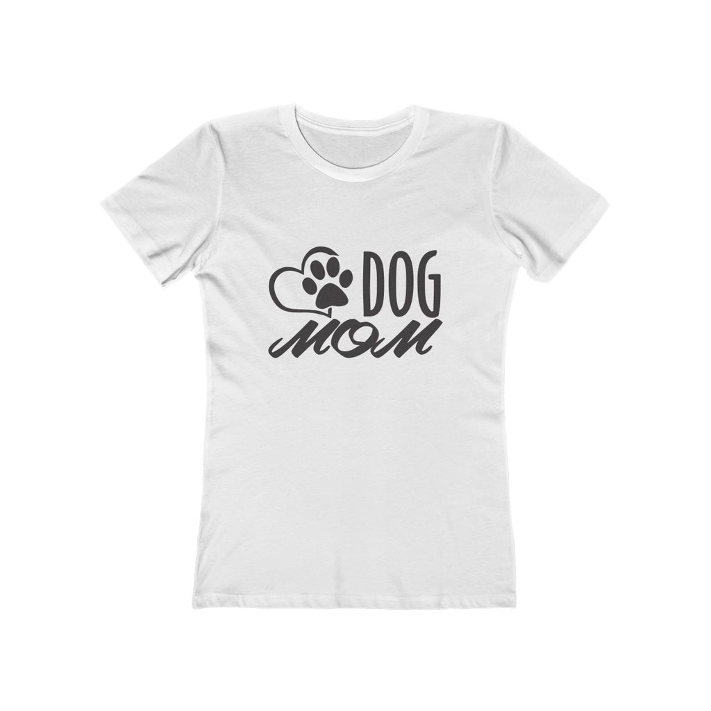 Dog Mom boyfriend tshirt for women dog lovers white - Mucho Poocho