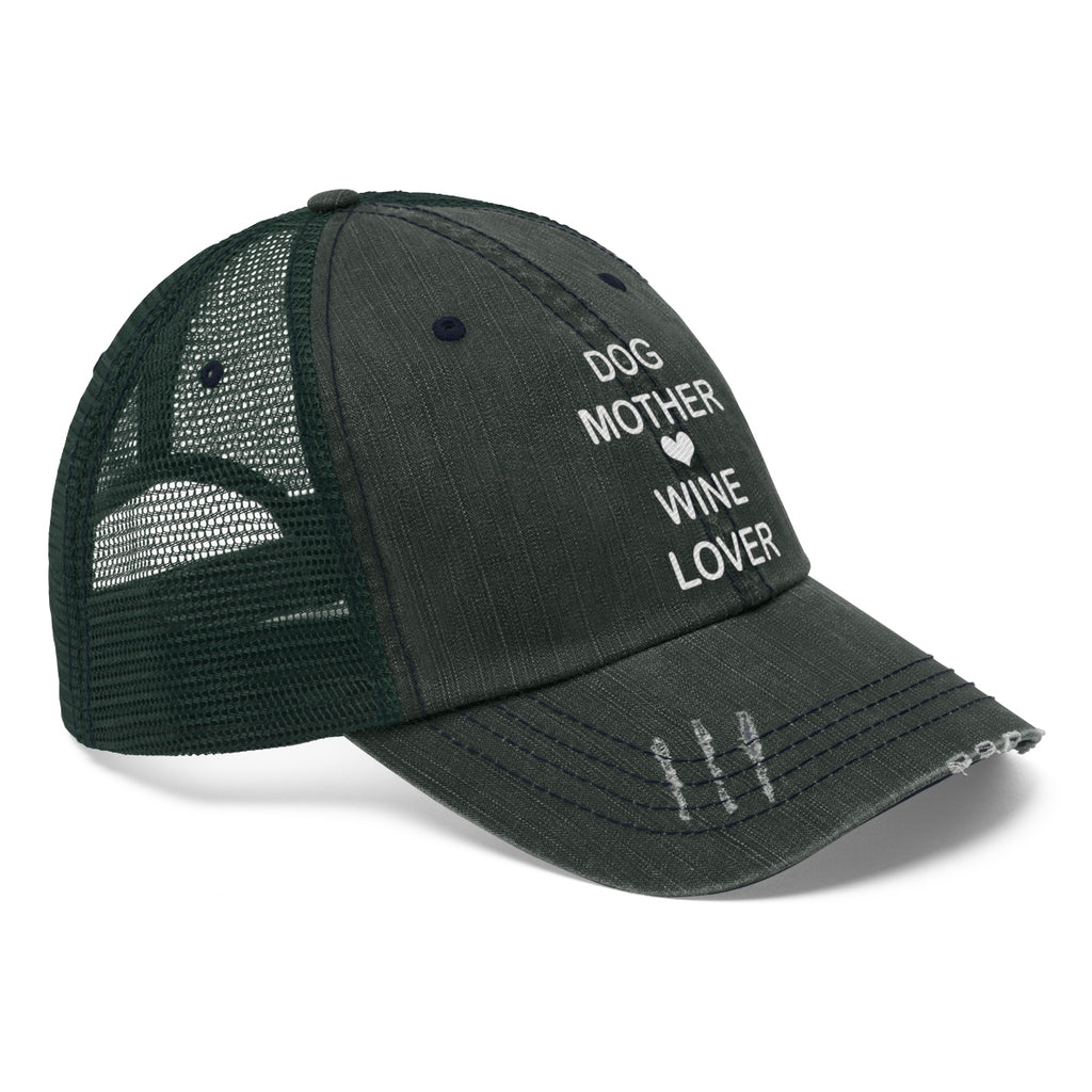 Dog mother wine lover distressed trucker hat for dog lovers and dog moms - Mucho Poocho
