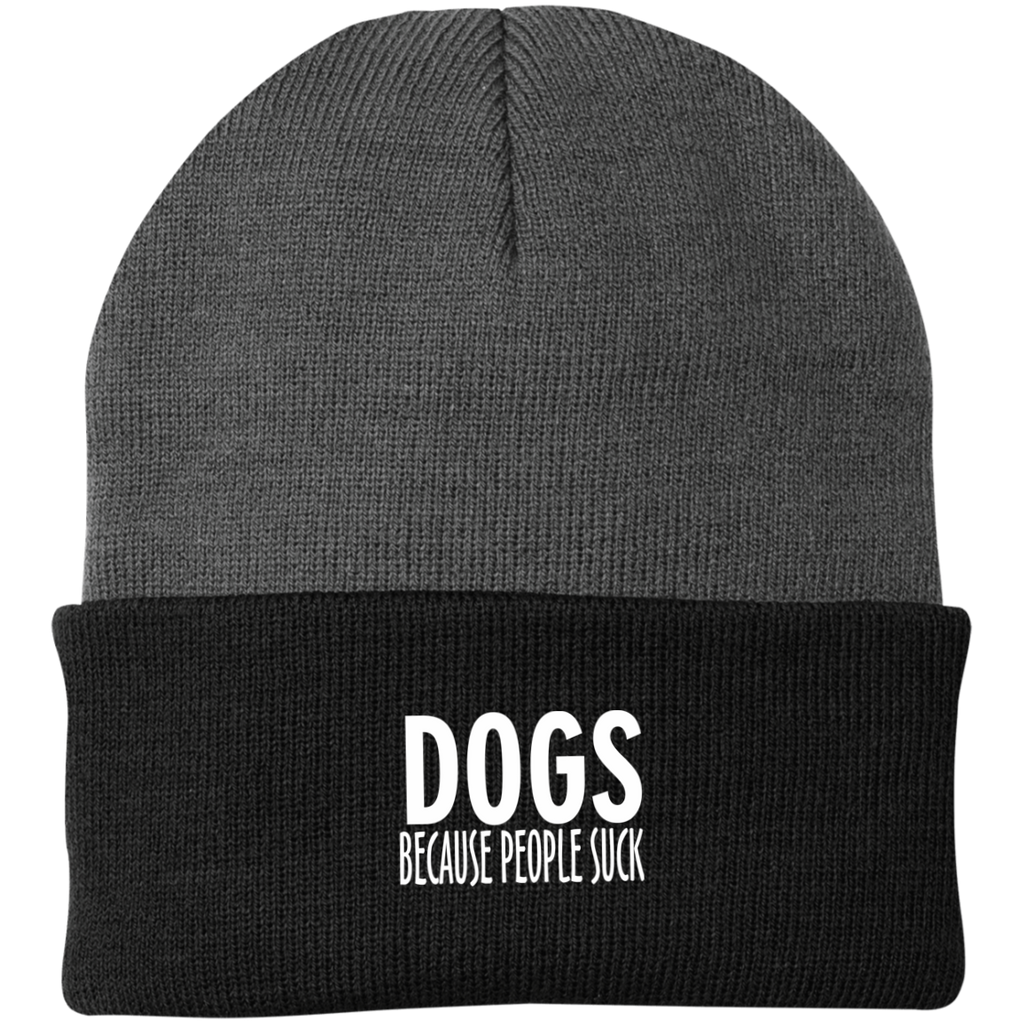 DOGS BECAUSE PEOPLE SUCK KNIT CAP