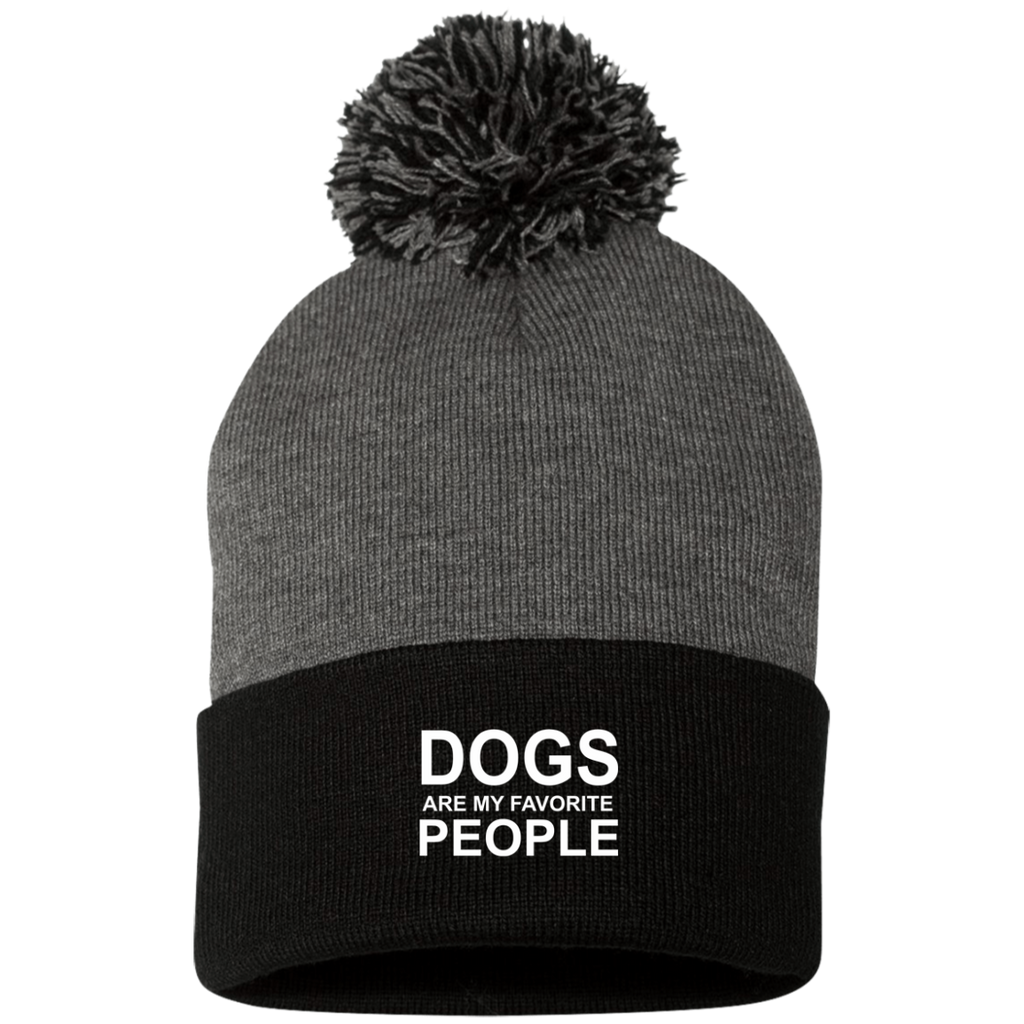 DOGS ARE MY FAVORITE PEOPLE KNIT CAP WITH POM-POM