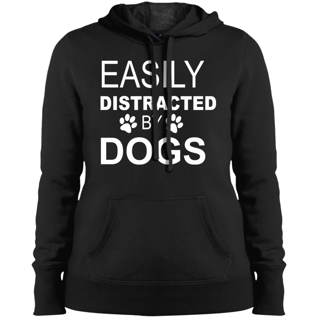 EASILY DISTRACTED BY DOGS COLLEGE FIT WOMEN'S HOODIE MUCHO POOCHO APPAREL DOG LOVER