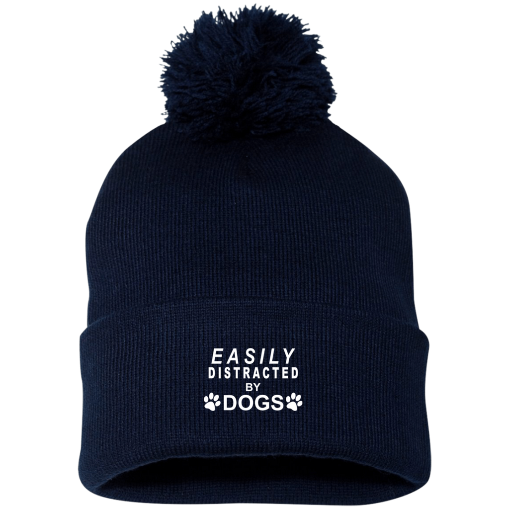 EASILY DISTRACTED BY DOGS KNIT CAP WITH POM POM
